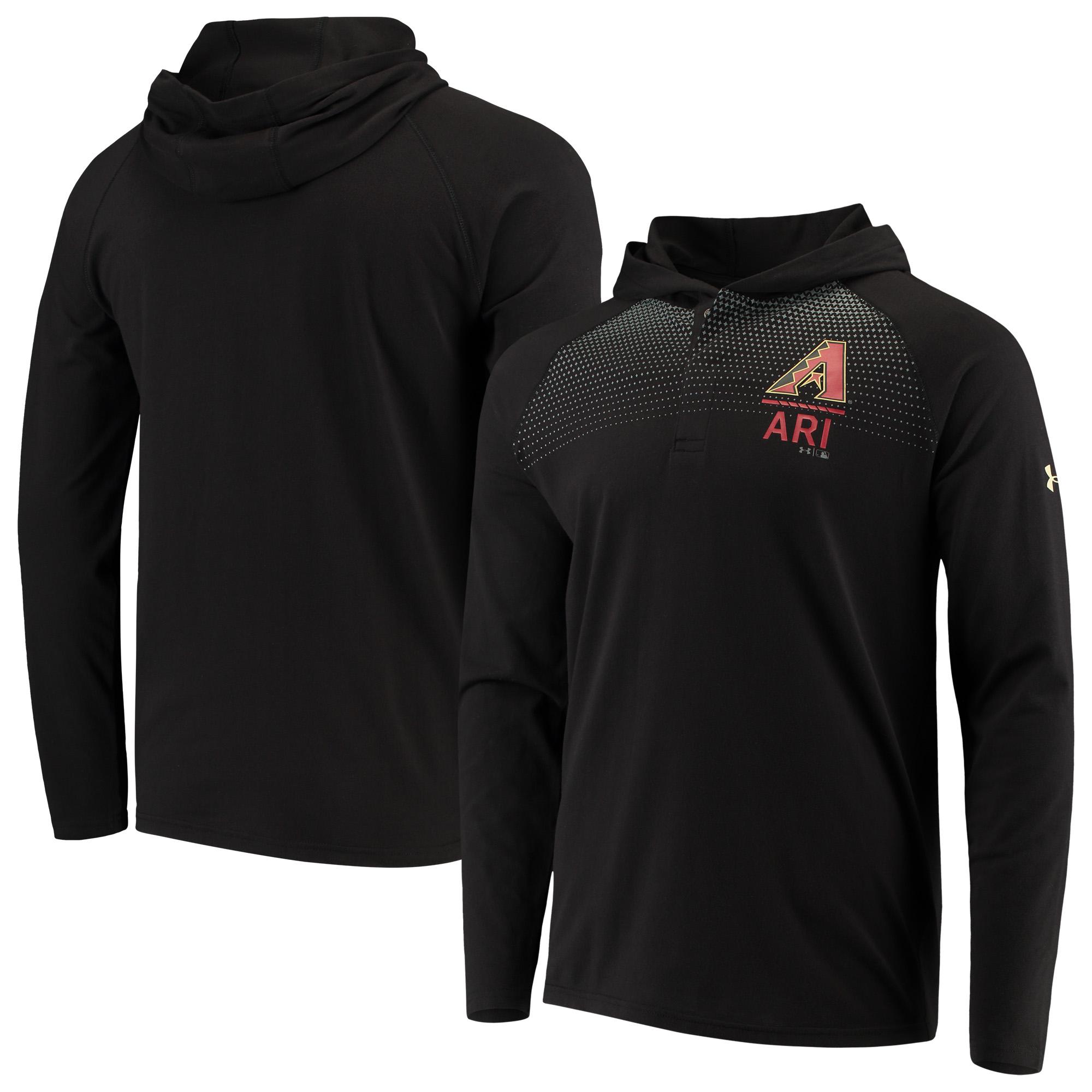 Arizona Diamondbacks Under Armour Henley Performance Raglan Tri-Blend Pullover Hoodie - Black