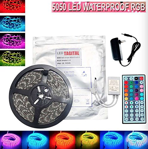 Tagital® 16.4ft 5M Waterproof Flexible Strip 300leds Color Changing RGB SMD5050 LED Light Strip Kit RGB 5M +44Key Remote+12V Power Supply