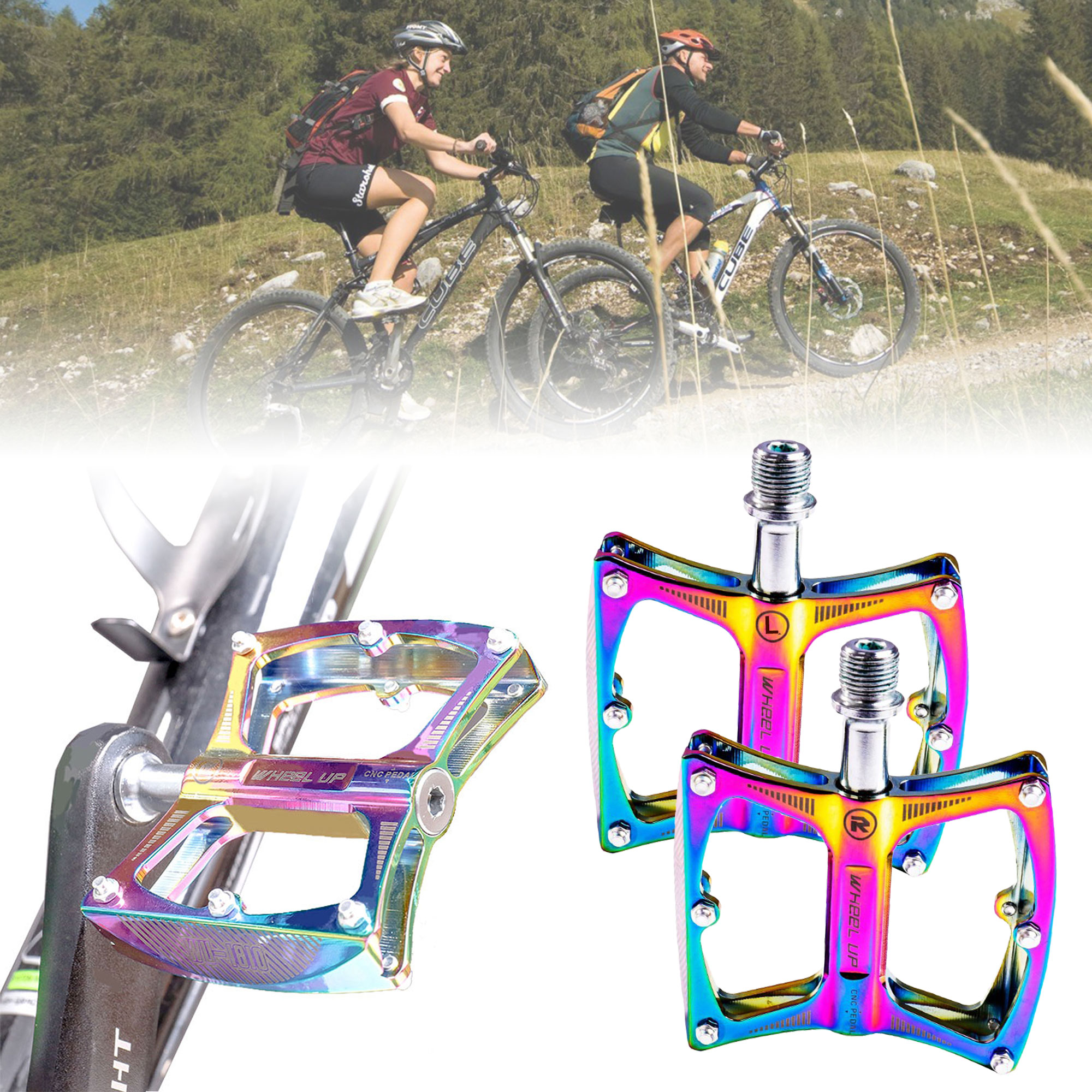 Aluminum Alloy Mountain Bike Bicycle Pedals Fit For MTB Flat Platform 1 Pair