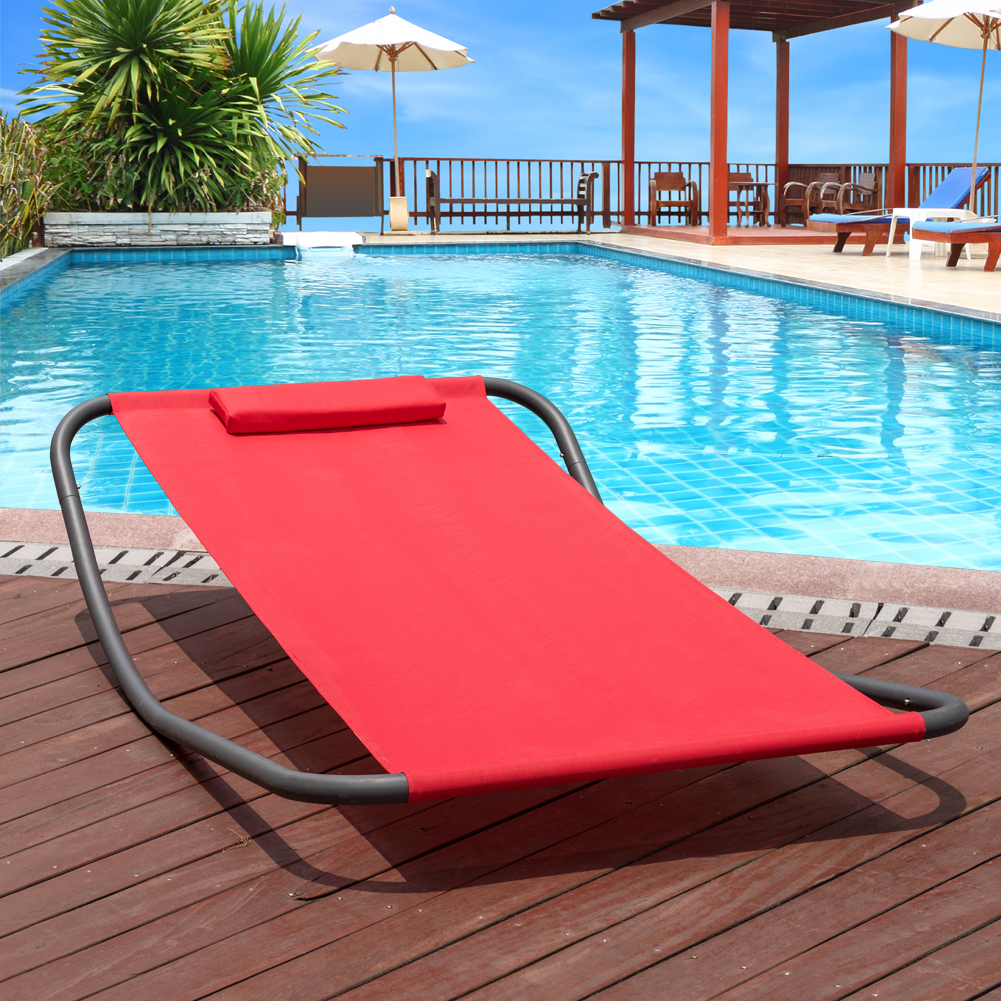 Lazy Daze Hammocks Patio Garden Outdoor Rocking Lounger Hammock Swing Bed with Pillow