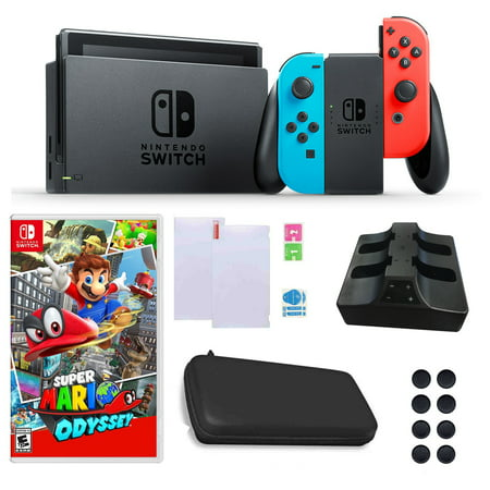 - Nintendo Switch in Neon with Mario Odyssey Game and Accessories Bundle