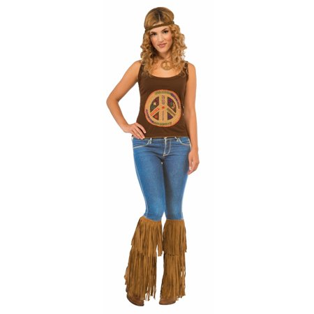 Hippie Fringed Boot Tops Halloween Costume Accessory - Last Minute Hippie Halloween Costume