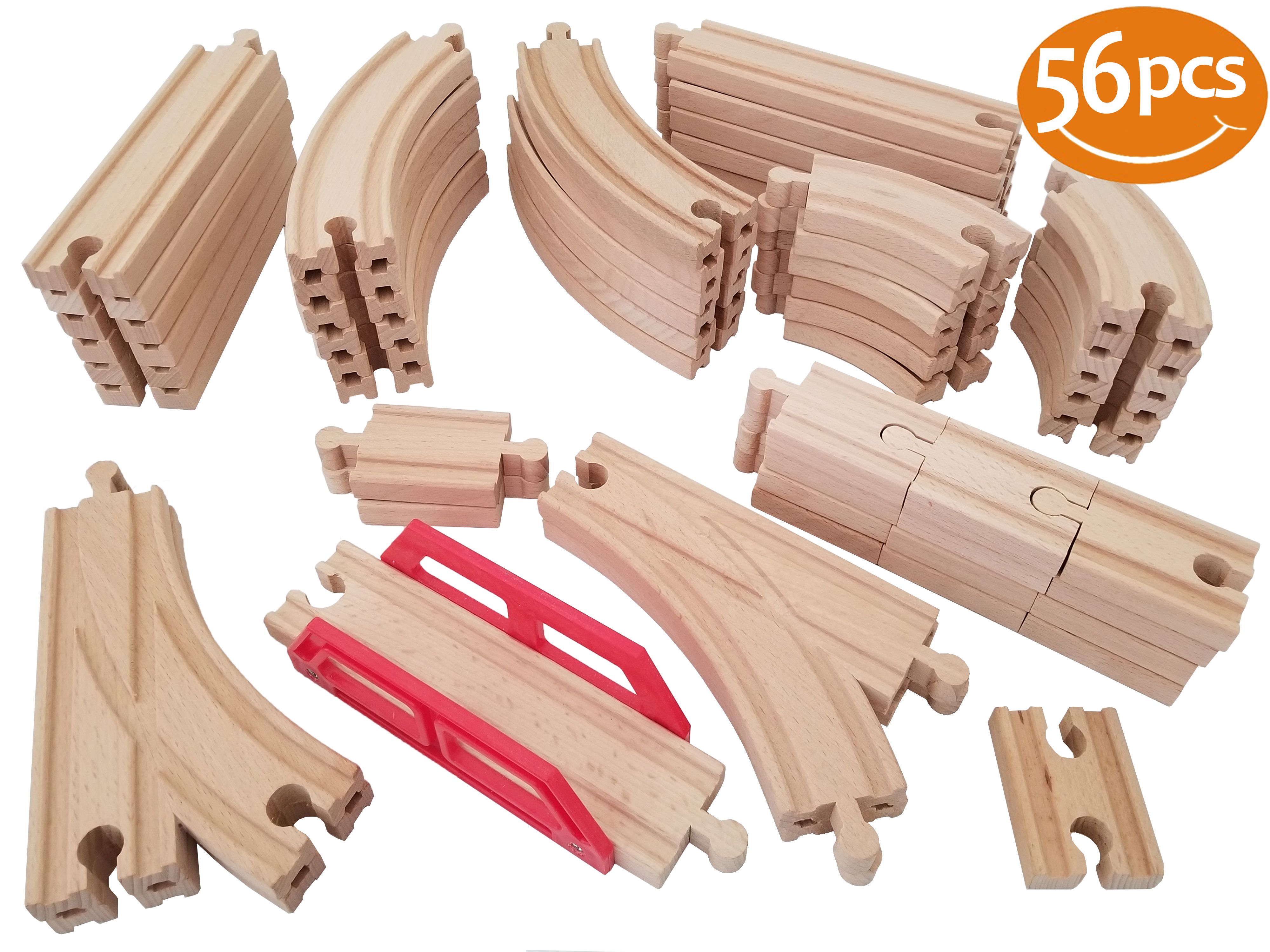 NEW Straight Wooden Railway Train Track Mini Adapter Set Toys for Play 8 pieces