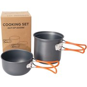 1 Set Aluminium Alloy Camping Pots Set Folding Handle Outdoor Cooking Pan Pot Picnic Cookware for Travel Picnic Hiking