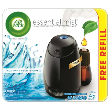 Air Wick Essential Mist Fragrance Oil Diffuser Kit (Gadget + 1 Free Refill), Fresh Water Breeze, Air Freshener