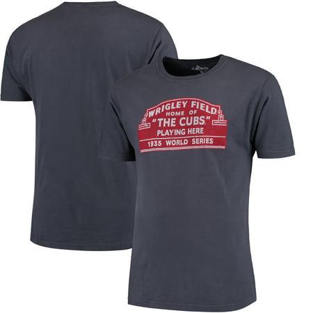 Chicago Cubs Red Jacket Wrigley Brass Tacks T-Shirt - - Red Jacket Brass Tacks