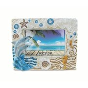 """CoTa Global Colorful Dolphin 5"""" x 3.5"""" Photo Frame Nautical Handcrafted Resin Picture Holder Easel Back Ocean Life Marine Animals Seahorse Novelty Frame Bright & Unique for Beach & Underwater Rooms"""