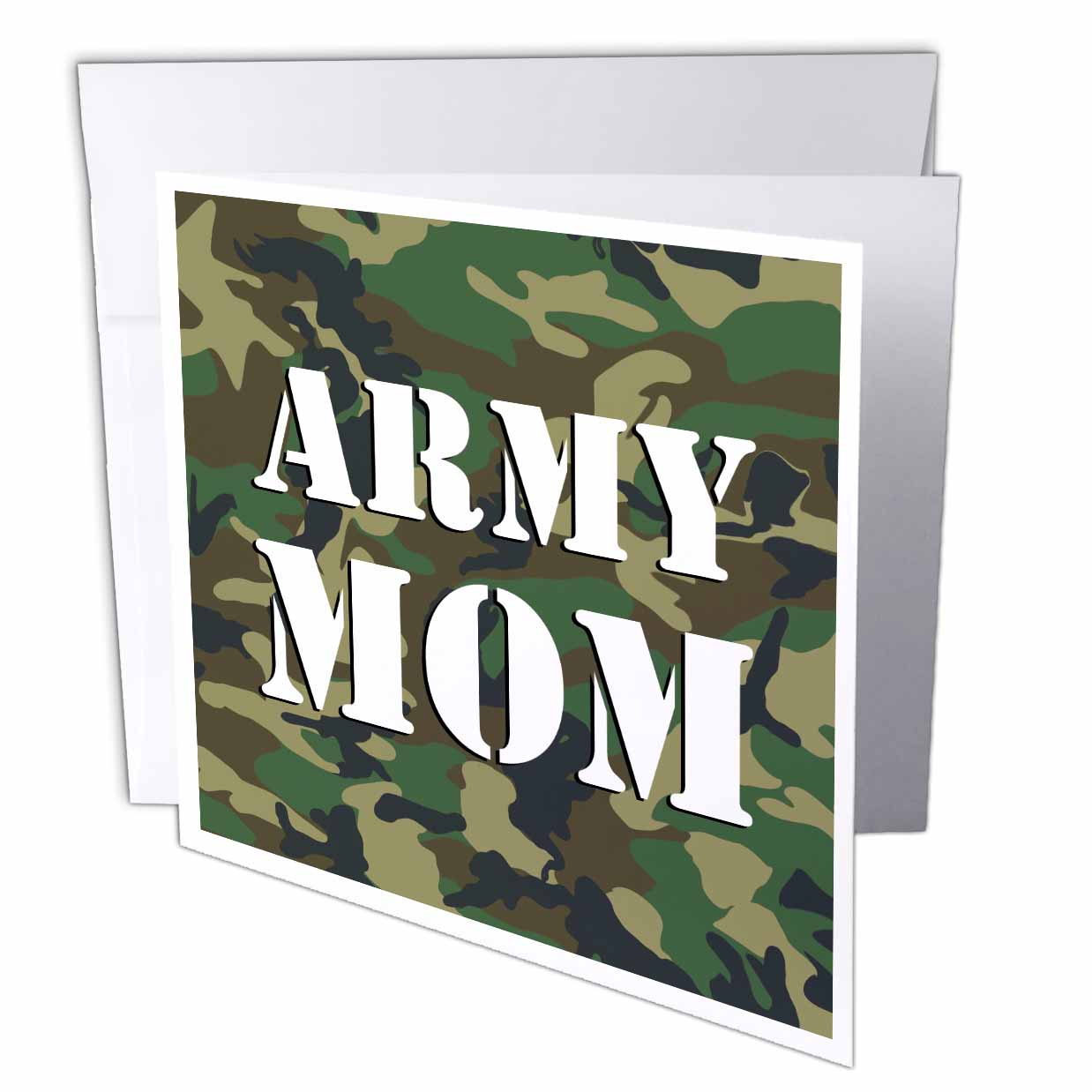 3dRose Army Mom Green Camouflage , Greeting Cards, 6 x 6 inches, set of 12