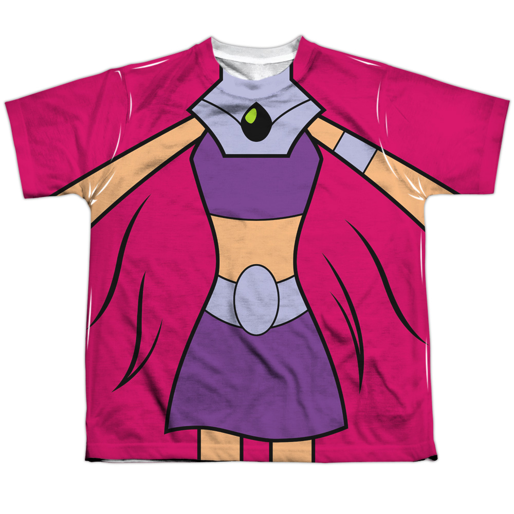 Teen Titans Go Men's  Starfire Uniform Sublimation T-shirt White