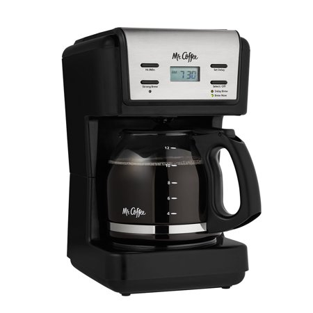 Mr. Coffee 12 Cup Programmable Black Coffee Maker (One Cup Filter Coffee Maker)