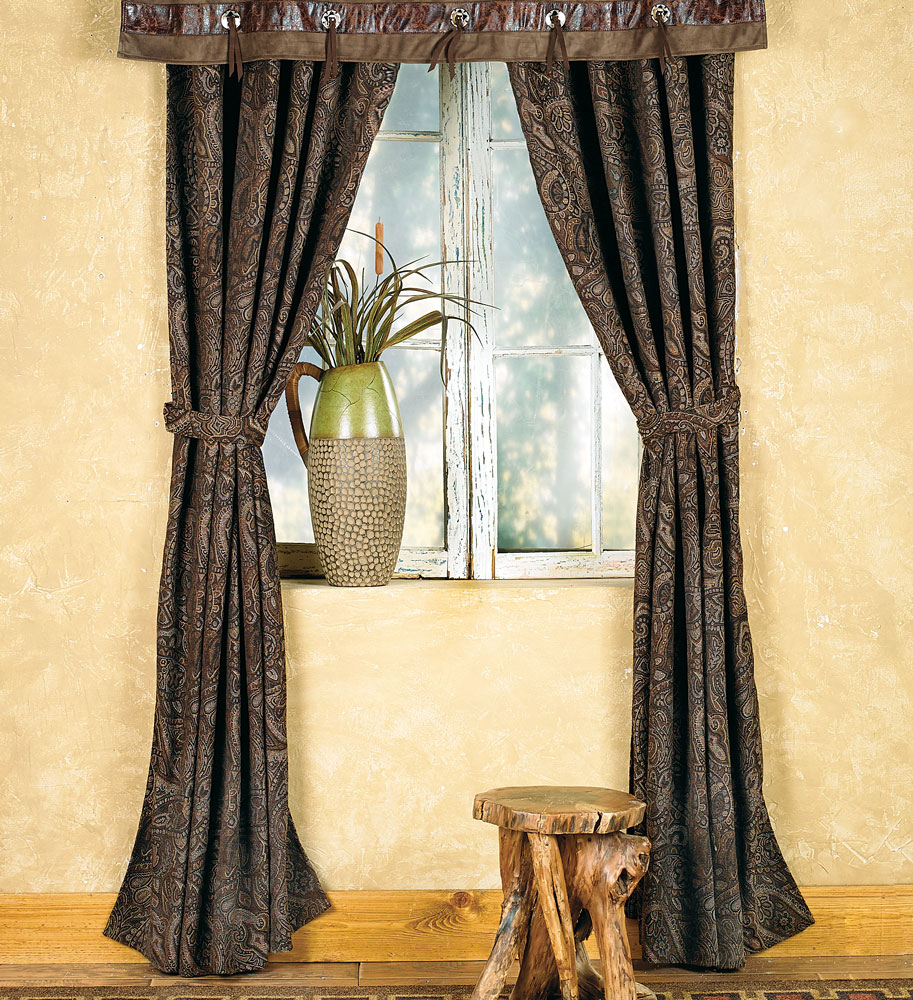 Western Paisley Beaumont Southwestern Drapes Rustic Window Treatment by