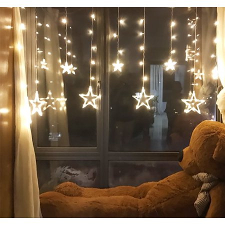 12 Stars Curtain LED Starry String Lights, Window Curtain Lights with 8 Flashing Modes Decoration for Christmas, Wedding, Party, Home, Patio Lawn, Warm White (138 LED - Star) ()