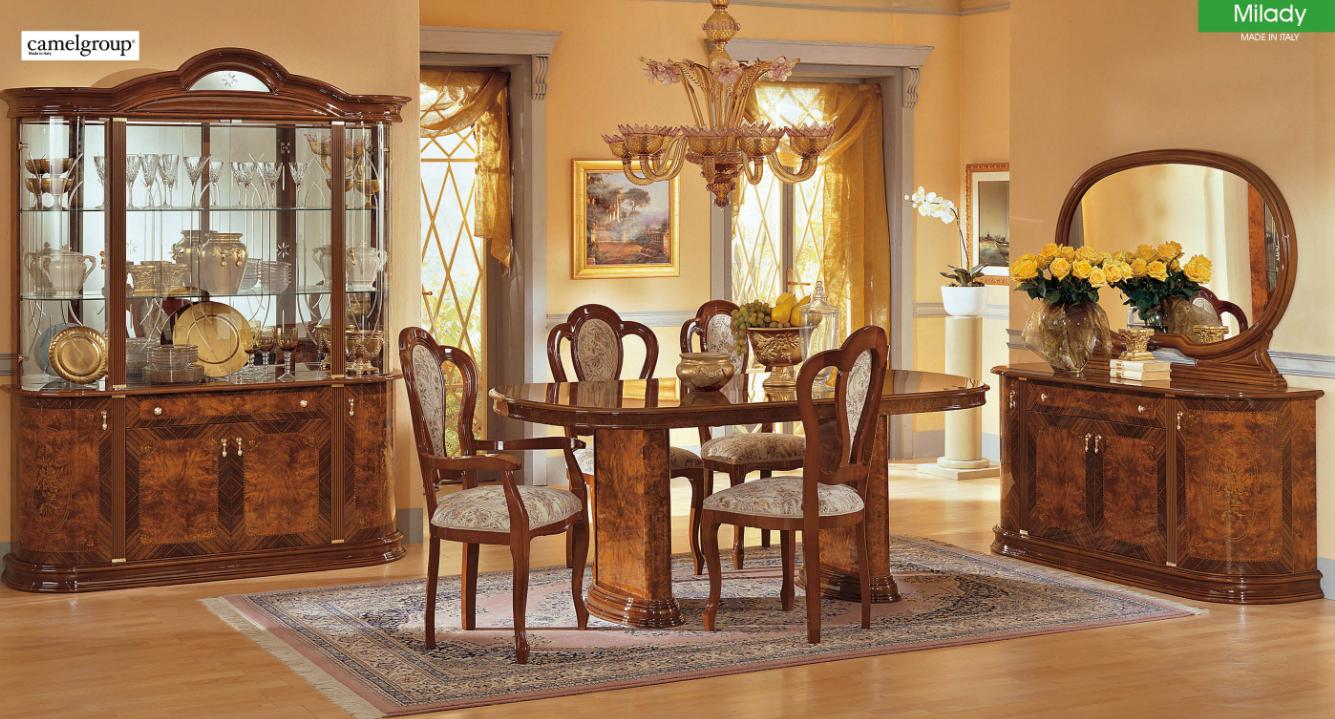 ESF Furniture Milady Walnut Classic Italian Dining Table Set 7Pcs Made In  Italy