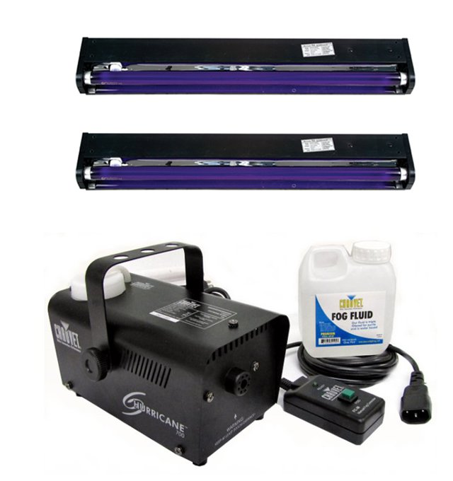 CHAUVET Hurricane H700 Fog Machine H-700 Fogger + (2) AMERICAN DJ UV Blacklights