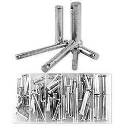Clevis Pin Assortment - 60 Piece Steel Loose Metal Clevis Pin with Head Assortment Set Tool Kit
