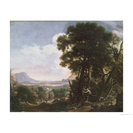 Erminia Carves the Name of Tancred on a Tree Print Wall Art By Salvator Rosa ()