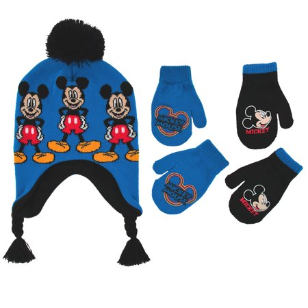 Disney Little Boys Mickey Mouse Hat and 2 Pair Gloves/Mittens Cold Weather Accessory Set - Mickey Mouse Gloves For Adults
