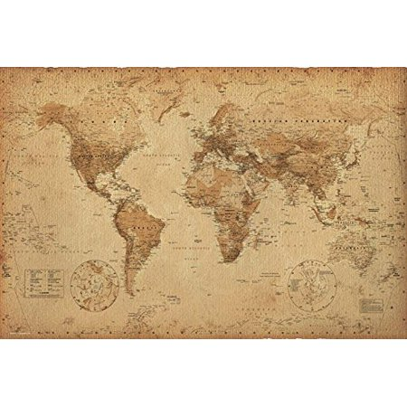 Antique Vintage World Map 36x24 Art Print Poster   -