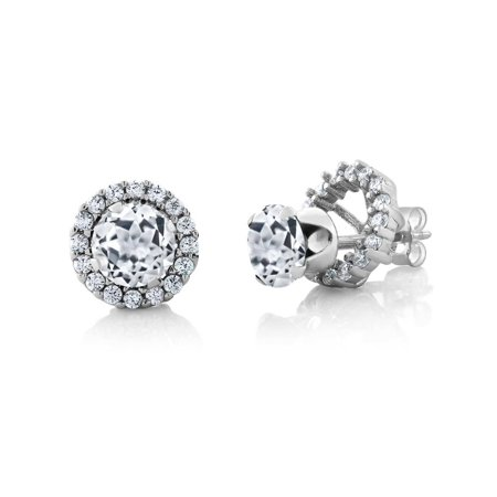 2.00 Ct Round 6mm White Topaz 925 Sterling Silver Removable Jacket Stud Earrings ()
