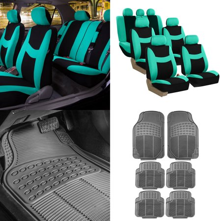 FH Group, 7 Seaters 3 Row Mint Black Seat Covers for SUV Van Combo with Gray Floor Mats