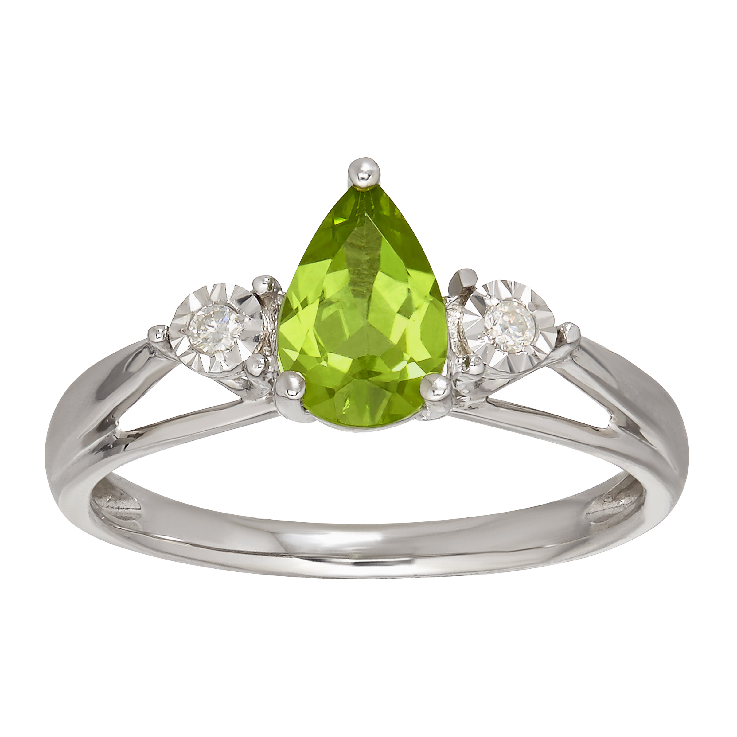 1 ct Natural Peridot Ring with Diamonds in 10kt Gold by Richline Group