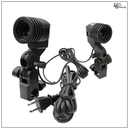 Dual Set 2x Single Head Light Bulb Socket Edison Base Light adapter with Umbrella Mount and Locking Screw from Loadstone Studio WMLS0193
