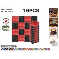"""Acepunch Black and Red 9.8"""" x 9.8"""" x 1.9"""" Wall Studio Wedge Acoustic Foam Sound-Absorbing Tile Panel 16 pcs"""