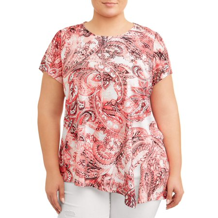 Women's Plus Size Assymetrical Flutter Sleeve Printed Tee 16 Flutter Sleeved Tee