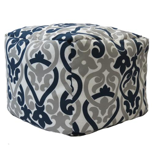 FHT Premiere Home Indoor/Outdoor Alex Oxford Grey 17 inch Square Pouf Footstool