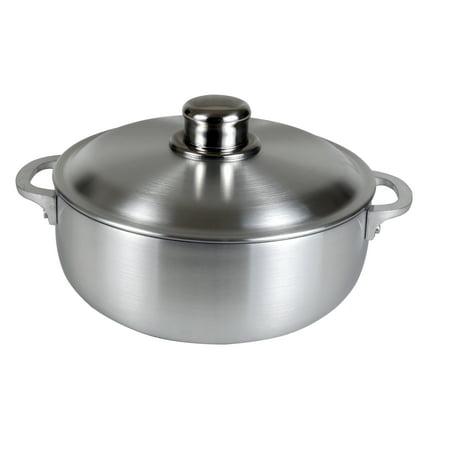 Gauge 304 Series Stainless Steel - Kitchen Sense Heavy Gauge Polished Aluminum Caldero Dutch Oven Cauldron with Aluminum Lid, and Stainless Steel Knobs, 14 Quart