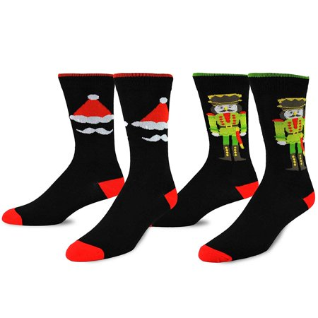 Teehee Christmas And Holiday Fun Crew Socks For Men 2 Pack  Nutcracker And Santa
