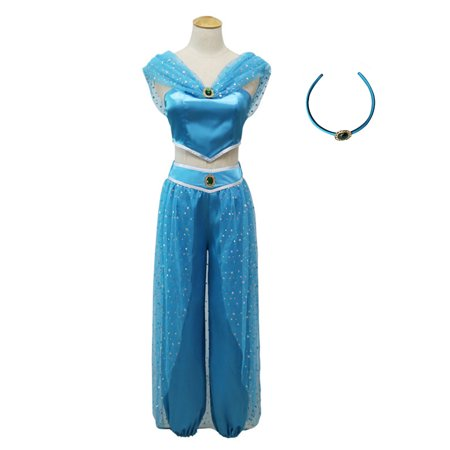 KINOMOTO Aladdin Jasmine Princess Dress Up Girls Adventure Outfit Women Cosplay Costume Skirt Set with Head Band (M)