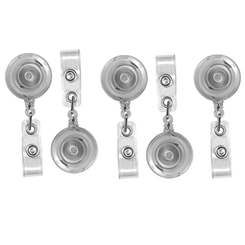 Click here to buy Translucent Retractable ID Badge Reels with Belt Clip 5 Pack by Specialist ID.