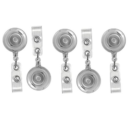 Translucent Retractable ID Badge Reels with Belt Clip - 5 Pack by Specialist ID