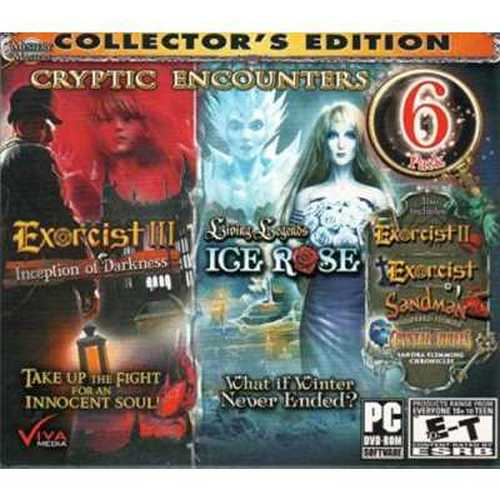 CRYPTIC ENCOUNTERS Hidden Object 6 Pack Collector's Edition. Includes: EXORCIST III Inception of Darkness + Living Legends ICE R