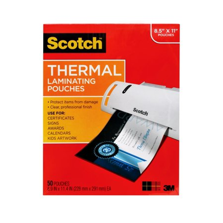 Scotch Thermal Laminating Pouches, 50 Count, 8.5in x 11in Letter Size Sheets, 3 mil Thick