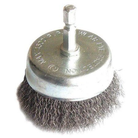 "Westward Drill Cup Wire Brush, 2-3/4"", Fine, Crimped, 35XN51"