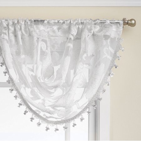 Regal Home Collections Scroll Sheer Waterfall Window Valances - White