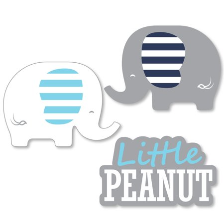 Blue Elephant - Shaped Boy Baby Shower or Birthday Party Cut-Outs - 24 - Party Boas