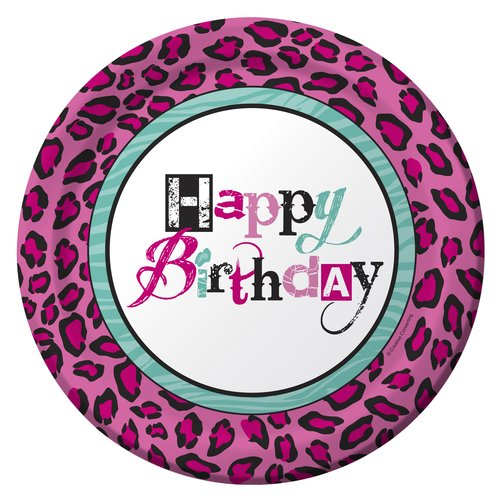 """Creative Converting Girl Animal Prints 9"""" Round Plates, 10 count"""