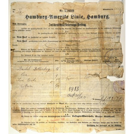 Immigration Ticket 1913 Nsteamship Ticket For A Family Of Four Polish Immigrants For Passage To New York On The Hamburg-American LineS Ship Pretoria October 1913 Rolled Canvas Art -  (24 x 36)