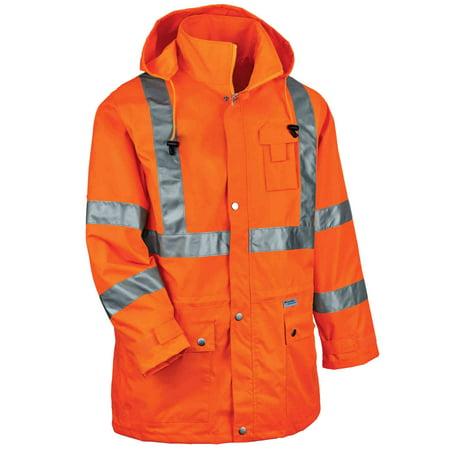 Ergodyne GloWear® 8365 Type R Class 3 Rain Jacket, Orange, 5XL