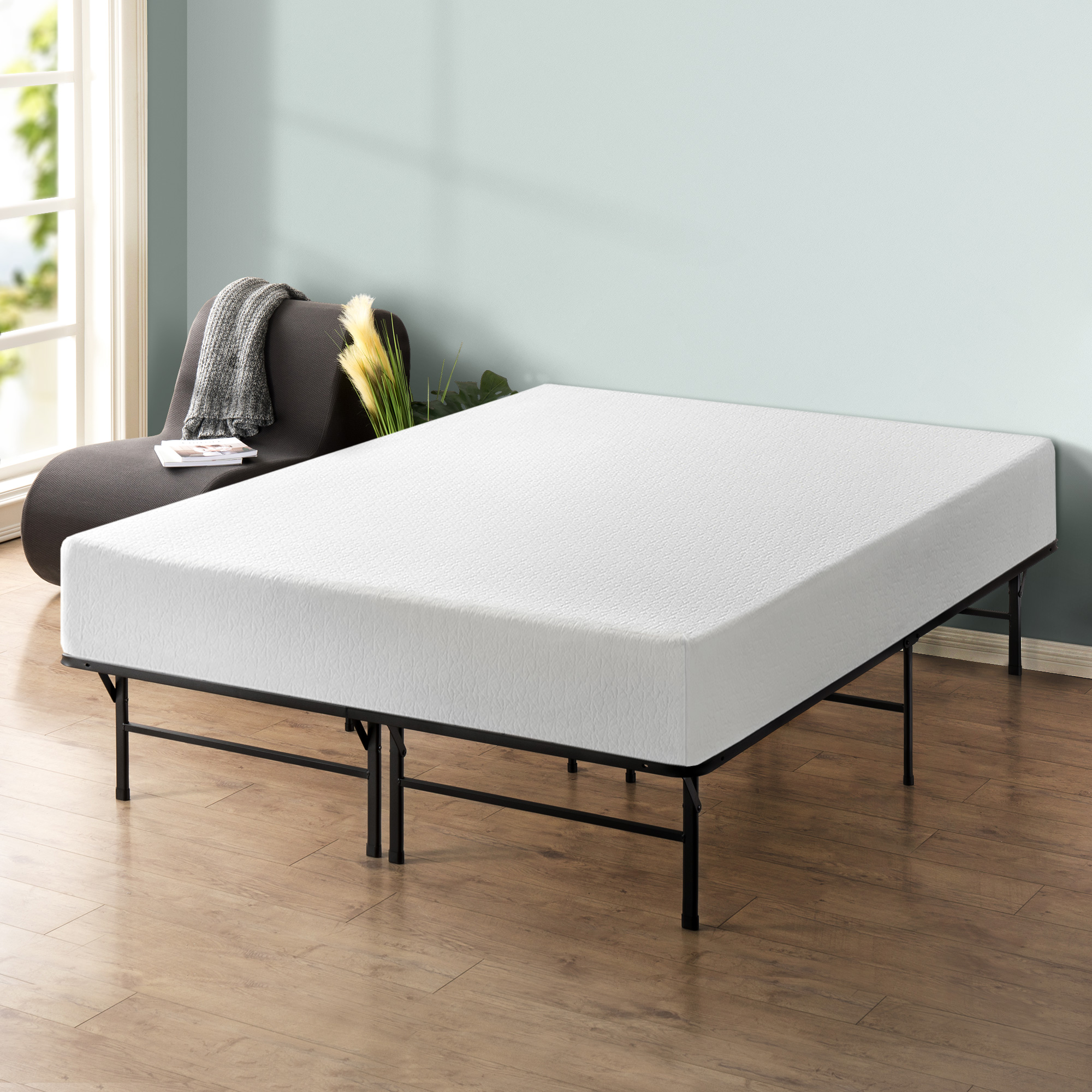 "Best Price Memory Foam 12"" Mattress and Dual-Use Steel Bed Frame Set"