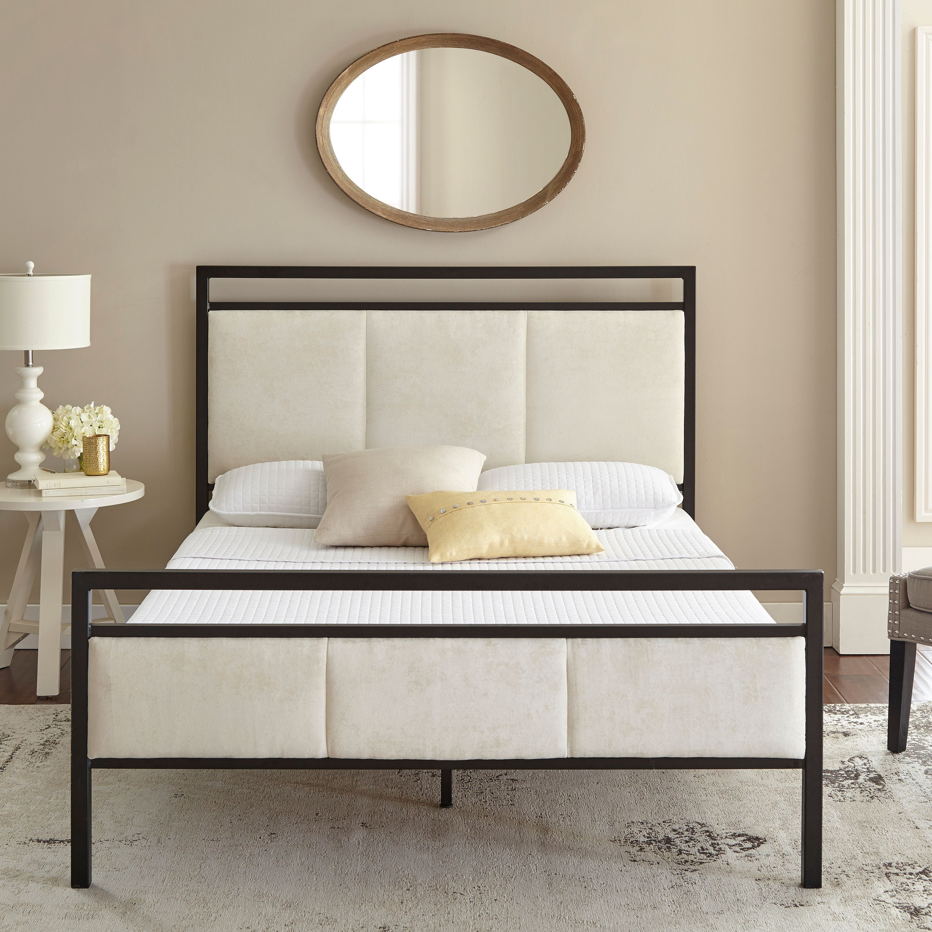Premier Isaac Platform Metal Bed Frame with Bonus Base Wooden Slat System, Multiple Sizes