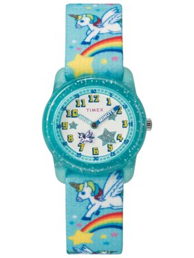 Girls Time Machines Teal/Rainbows & Unicorns Watch, Elastic Fabric Strap