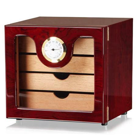 Moaere Wood Grain Cigar Humidor Box Cigarette Cabinet Hygrometer Humidifier Case