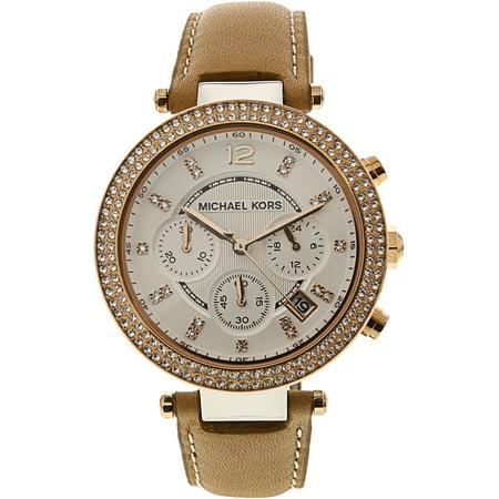 - Women's Parker MK5633 Silver Leather Quartz Watch
