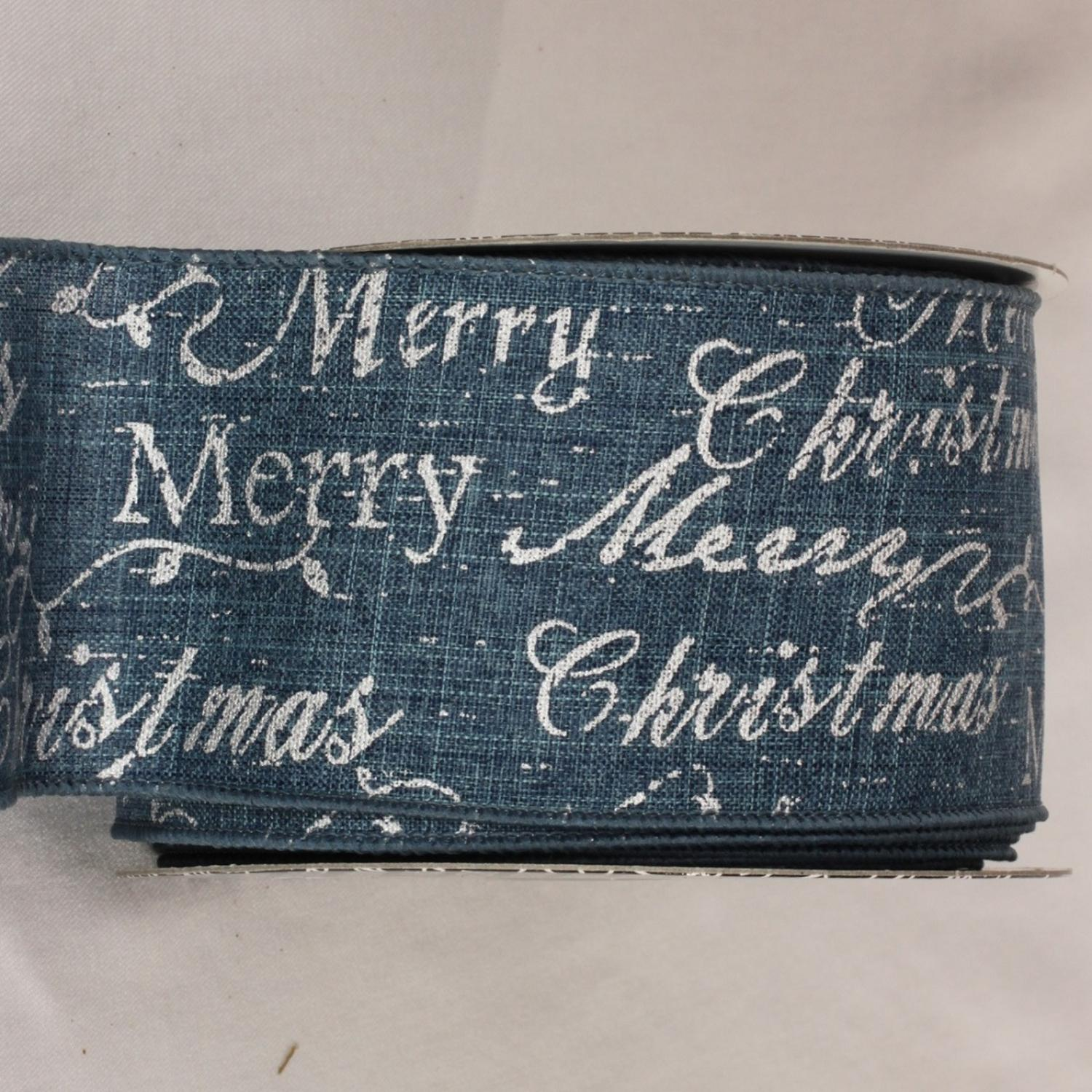 "Merry Christmas Scripted Blue and Silver Wired Craft Ribbon 3"" x 20 yards"