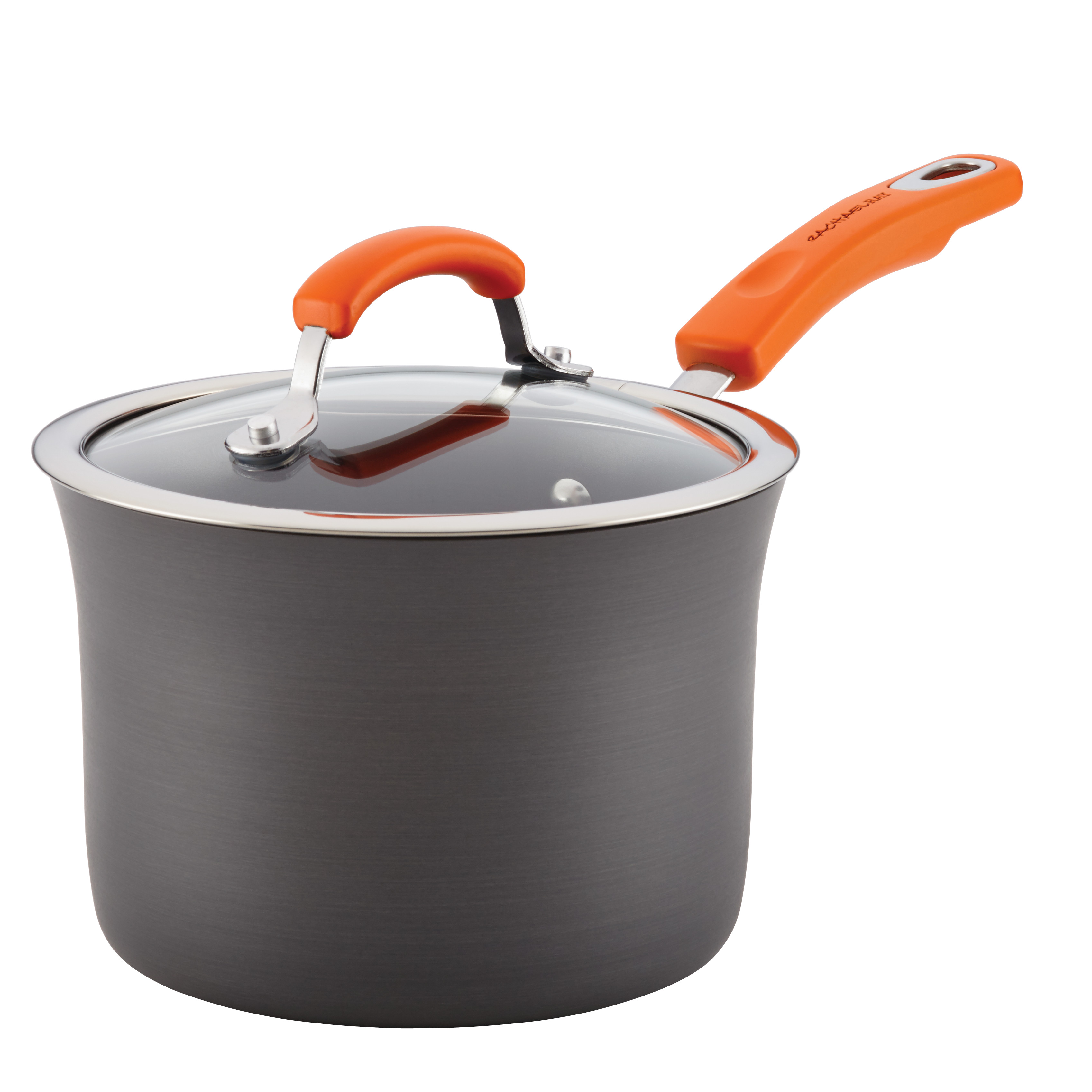 Rachael Ray Hard-Anodized Aluminum Nonstick 3-Quart Covered Saucepan, Gray with Orange Handle