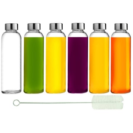 Glass Water Bottles: 6 Pack, 18 Oz, Stainless Steel Leak Proof Lid, Premium Soda Lime, Best As Reusable Drinking Bottle, Sauce Jar, Juice Beverage Container, Kefir Kit - With Cleaning